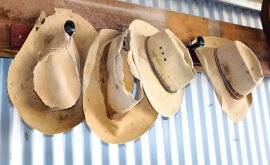 Old Country hats hanging in Charleville
