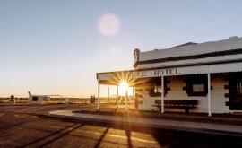 Birdsville Hotel at sunset